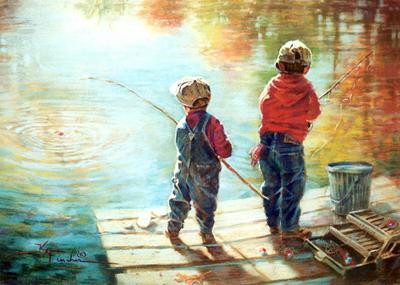 Рыбалка на Калиновке, дети ловят золотую рыбку
